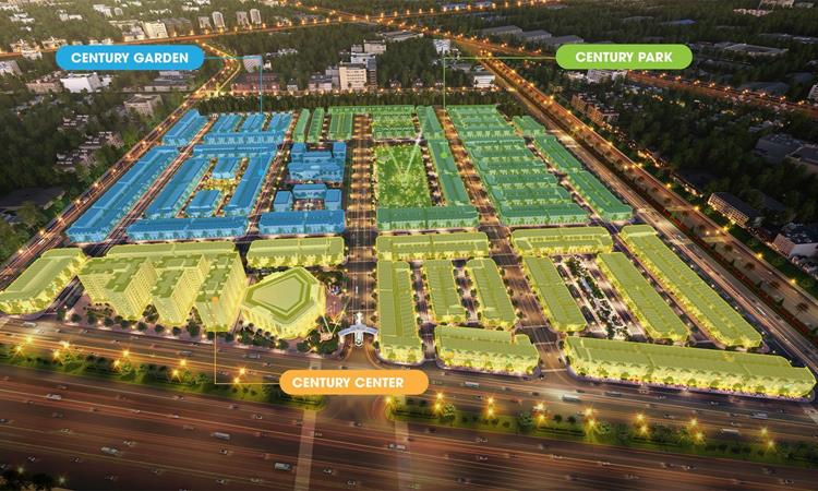 Phối cảnh Century City được chia làm 03 phân khu gồm Century Center, Century Park, Century Garden