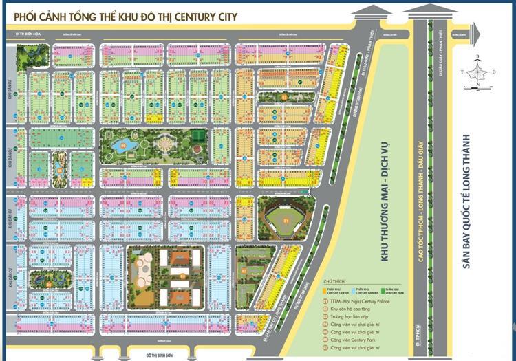 Mặt bằng dự án Century City tại xã Bình Sơn, huyện Long Thành