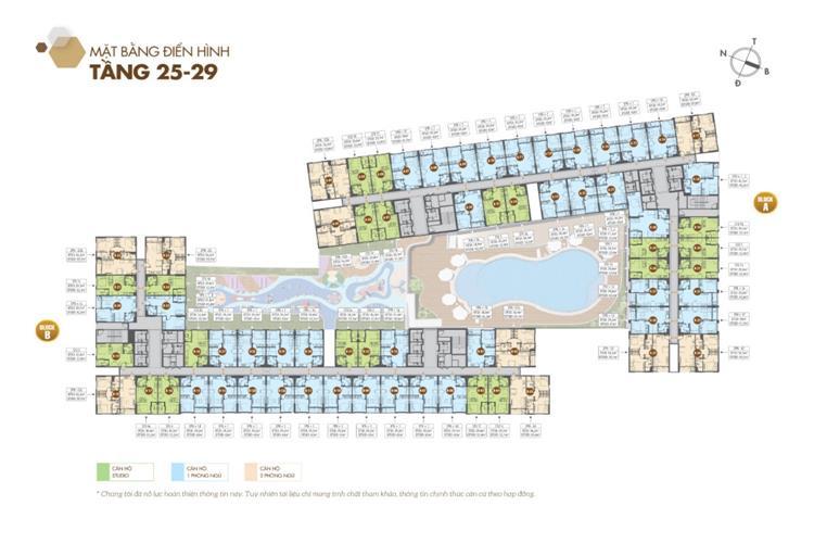 Mặt bằng tầng 25 đến 29 dự án căn hộ Legacy Central