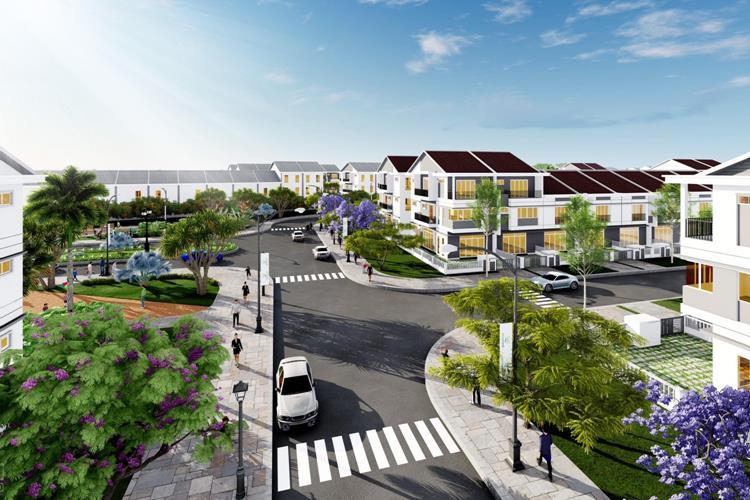 Đường nội khu rộng rãi dự án Ecolakes Bình Dương