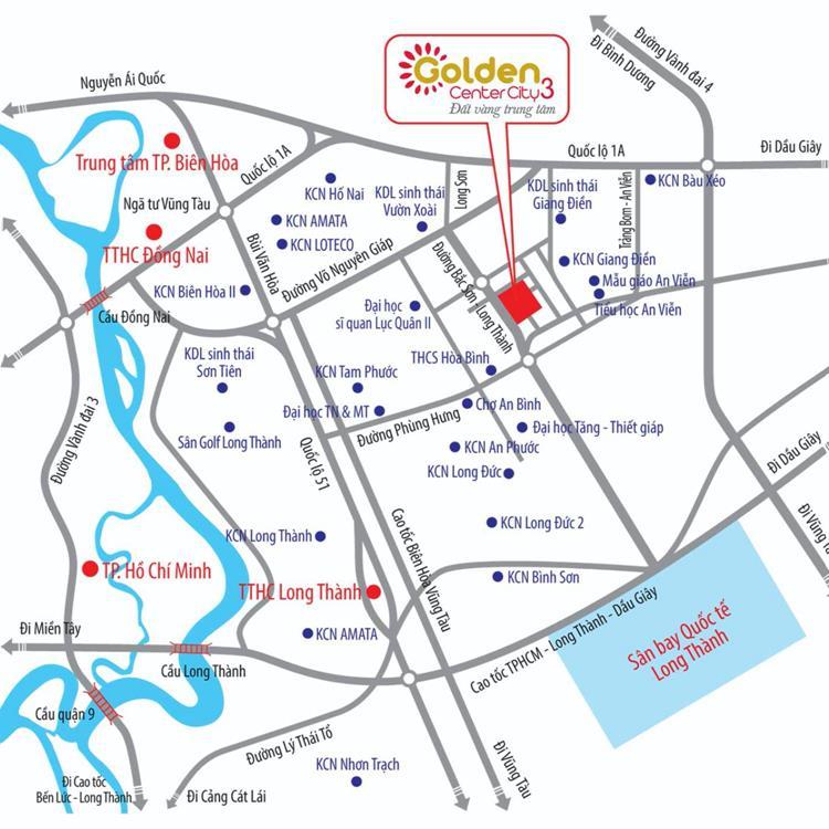 Vị trí dự án Golden Center City 3 Đồng Nai